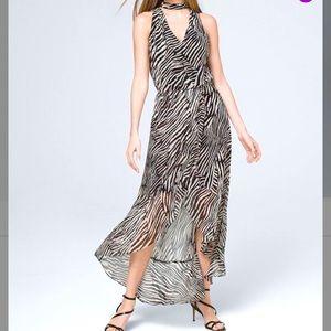 🆕 WHBM Black & Ecru Hi-low Maxi Dress